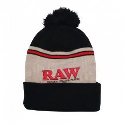 RAW - Pompom Hat - Beanie with pompom - black and brown