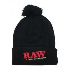 RAW - Pompom Hat - Beanie with pompom - Black