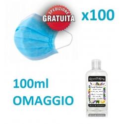100 x Mascherina Chirurgica Monouso + Gel Mani Omaggio! (Spedizione Gratuita)