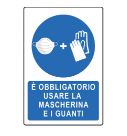 Obligation to wear gloves and a mask - PVC signs for compliance with the rules