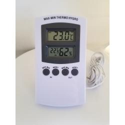 Rilevatore di Temperatura e Umidità - TermoIgrometro Digitale con Sonda e Schermo LCD
