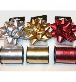 Colored ribbon for gift wrapping (XL) + Bow (50 meters)