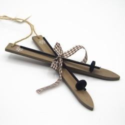 Sci in Legno con Racchette e Cordino per decorazioni Natalizie 17 x 8 cm