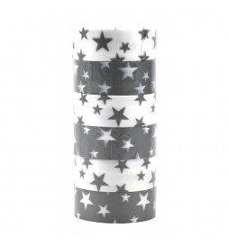 6 x White / Gray Star Ribbons for Gift Wrapping